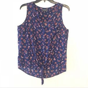 Lucky brand paisley print woven tie front blouse